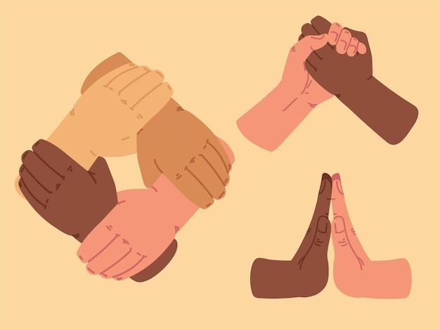 Diverse people hands