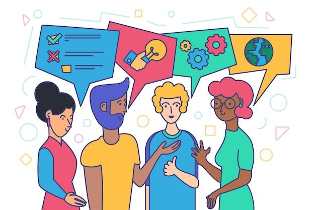 다양한 사람들이 말하기, 사회 커뮤니케이션 및 네트워킹 개념. 비즈니스를 논의 하는 채팅 거품과 민족 남성과 여성의 평면 벡터 일러스트 레이 션. 국제 웹 소셜 커뮤니케이션