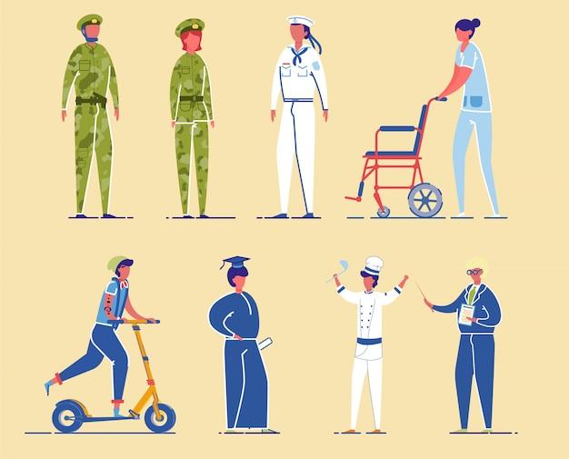 多様な職業の民間および軍事キャラクター。