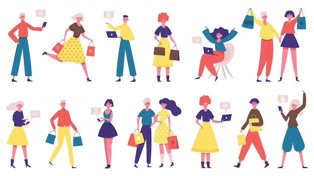 Diverse shopping people. online shopping male and female characters, people buy online and offline