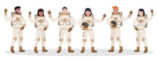 宇宙飛行士の多様なチームが、宇宙服を着て挨拶を続けて身振りで示します。宇宙服を着ている男性と女性の宇宙飛行士のキャラクターは、白い背景で隔離の手を振ってベクトル図を歓迎します。