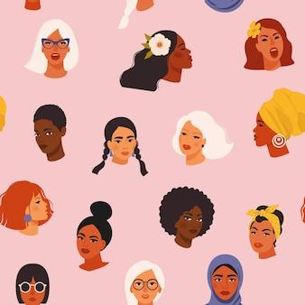 多様な女性が異なる文化を持つシームレスなパターンに直面している