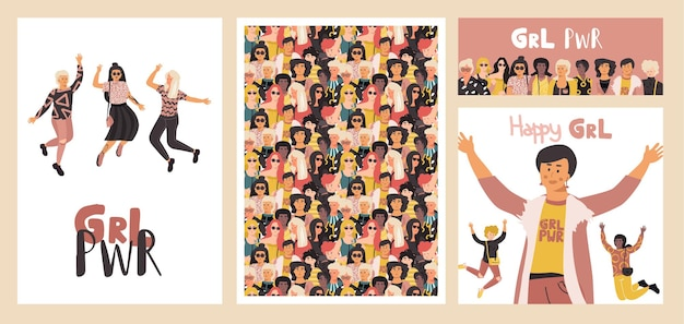 多様な女性のポスター。幸せな女の子のグループ、さまざまな国際的な女性の美しさを持つバナーとチラシのセット。ベクトルの概念面白い夢フェミニストの背景