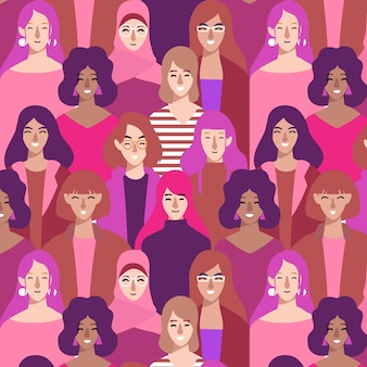 Diverse women's faces on pattern for women's day