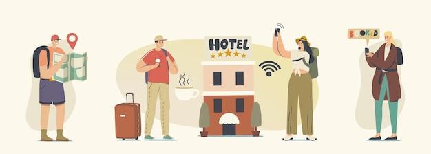 Разнообразные молодые люди заселяются в пятизвездочный отель. персонажи-туристы мужского и женского пола переезжают в мотель для ночлега, роскошное жилье для путешественников, гостевой дом. векторные иллюстрации шаржа