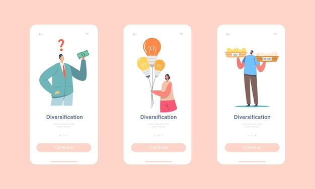 Diversification investment mobile app page onboard screen template. characters improve financial balance, risk management, guarantee of security savings concept. cartoon people vector illustration