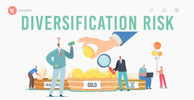 Diversification risk landing page template. investment, financial management, guarantee of security financial savings. people invest in gold, real estate, bonds and stocks. cartoon vector illustration