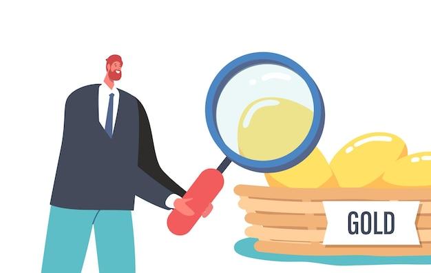 分散、投資または貯蓄の概念のためのリスク管理ビジネス戦略。小さな男性キャラクターは、バスケットのゴールドチキンエッグの巨大な拡大鏡を通して見てください。漫画の人々のベクトル図