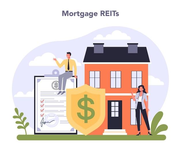 Диверсифицированная финансовая индустрия. ипотека reit инвестирование. векторная иллюстрация