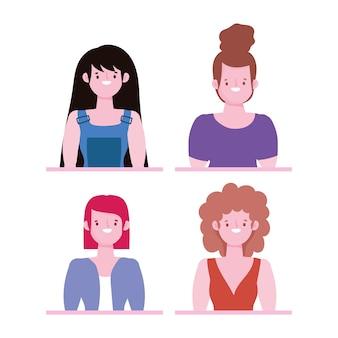 다양성과 포용성, 만화 여성 초상화 캐릭터가 다릅니다.
