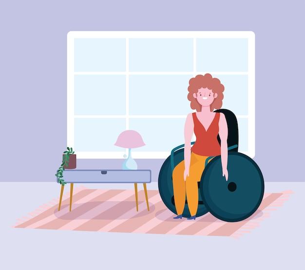 다양성과 포용, 웃는 여자가 방에서 휠체어에 앉아
