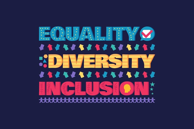Diversity banner or flyer with lettering equality and inclusion poster