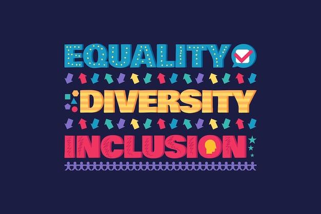 Баннер или флаер разнообразия с надписью плакат о равенстве и инклюзивности