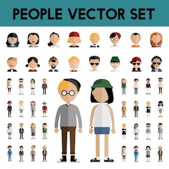 다양성 커뮤니티 사람들이 평면 디자인 아이콘 개념