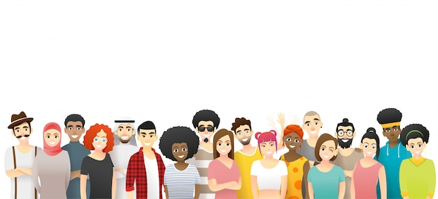 Diversity concept, group of happy multi ethnic people standing together