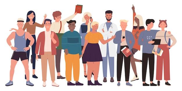 多様性の群衆の人々は、さまざまな多民族の男性女性キャラクターグループを一緒に立っています