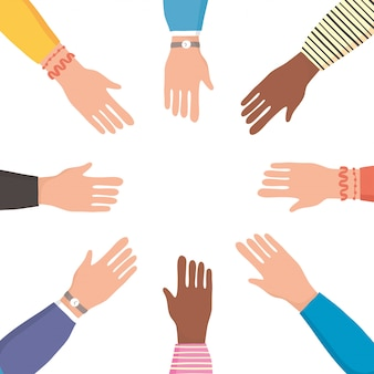 Diversity hands human team flat style icon illustration