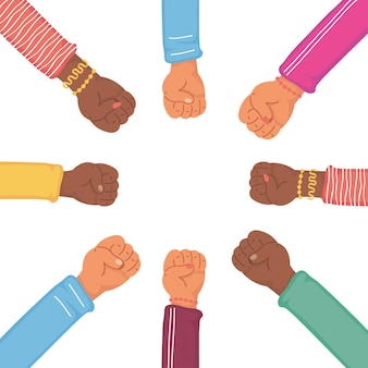 Diversity hands human team in flat style