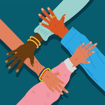 Diversity hands humans team together icons  illustration