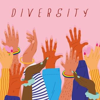 Diversity hands humans up and lettering  illustration