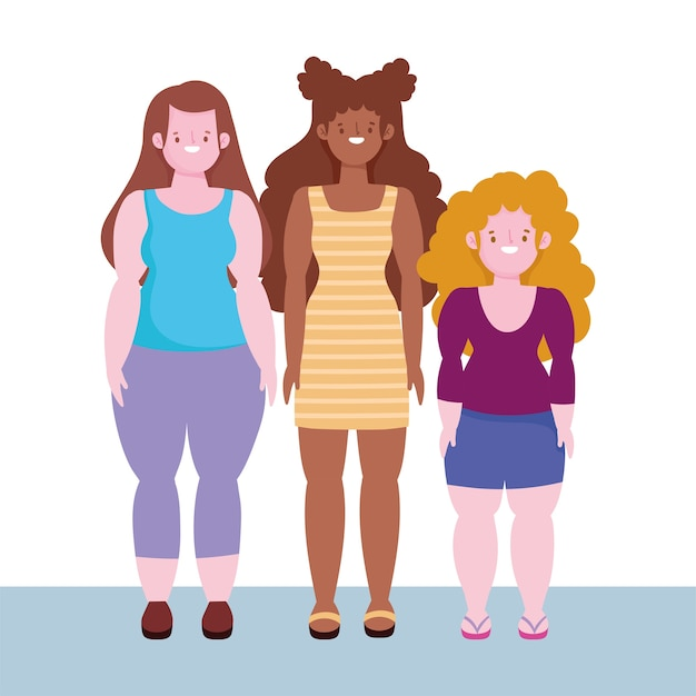 Diversity and inclusion, women short, tall stature and curvy body woman