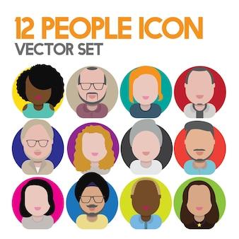 다양성 인종 공동체 사람들이 평면 디자인 아이콘 개념