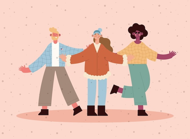 Diversity man and women on pink background