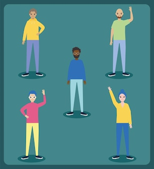Diversity men icon set