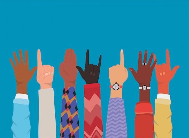 Разнообразие рук, делающих дизайн символов, многонациональность людей и тема сообщества