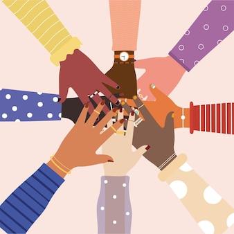 Разнообразие объединенных рук в центре иллюстрации