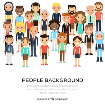 Diversity of people background in flat design
