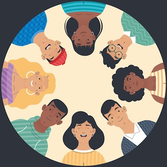 Diversity people group around characters