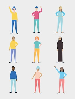 Diversity people icon collection