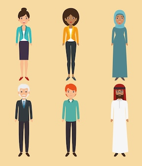 Diversity people icon set