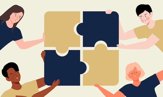 Diversity people putting puzzle pieces together illustration. multiethnic teamwork, partnership, cooperation and collaboration concept