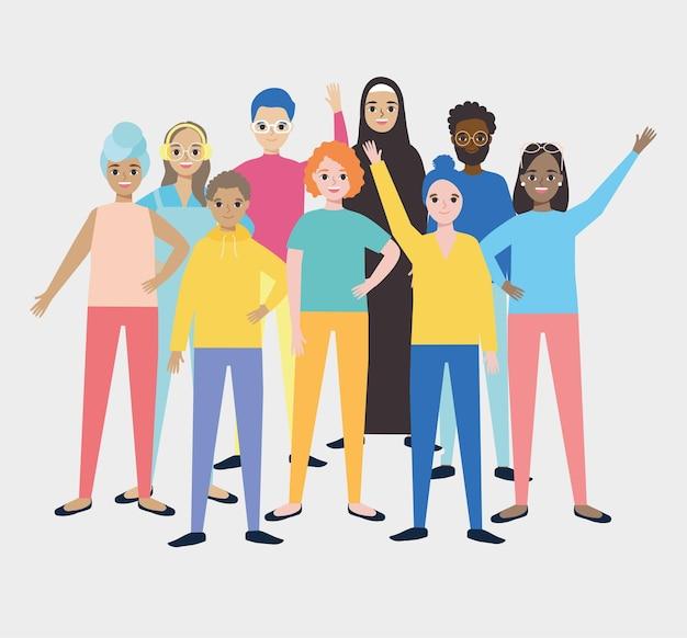 Diversity people standing