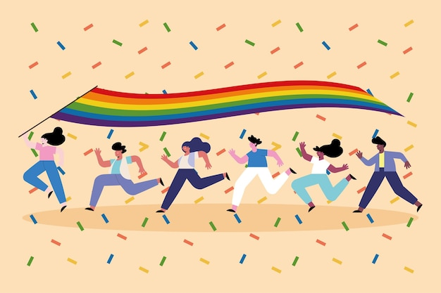 Diversity persons running with lgtbiq flag