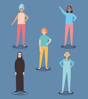 Diversity women icon set
