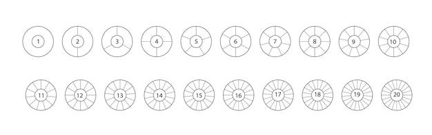 Разделите круг. набор сегментированных кругов, изолированные на белом фоне. черный сегментный элемент. вектор раунд 20 раздела
