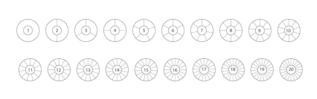 Divide circle. segmented circles set isolated on a white background. black segment element. vector round 20 section