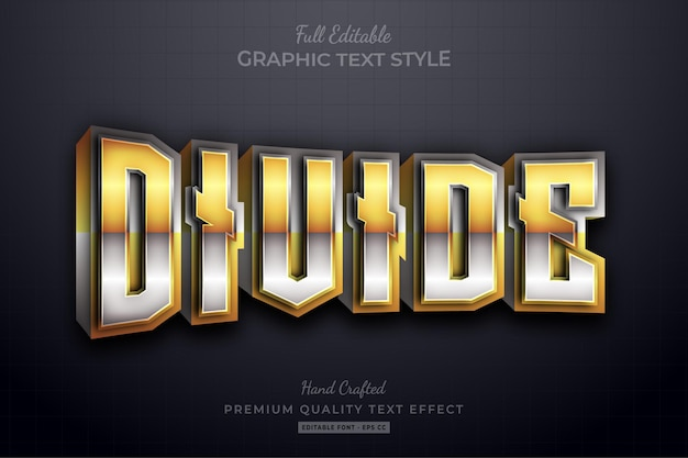 Divide gold silver 3d editable text effect font style