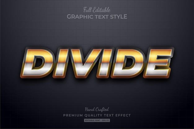 Divide golden silver editable text effect font style