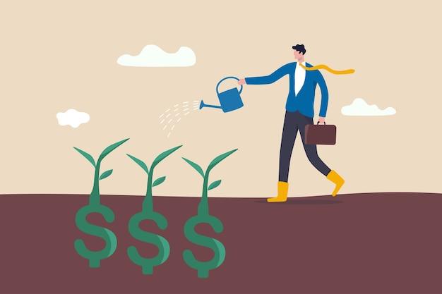 配当投資、繁栄と経済成長または貯蓄と事業利益の概念