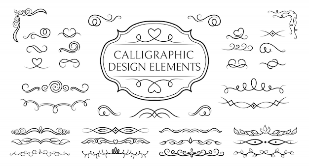 Divider, curl and swirl calligraphic set. flourishes borders, vegetable whorls vignettes decorative elements, ornaments. elegant graphics elements ink black and white drawing. illustration