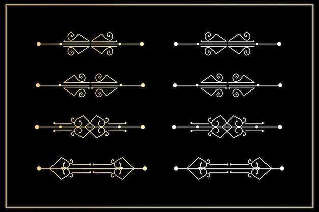 Divider golden line border set on black.