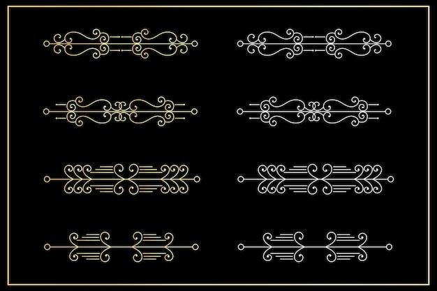 블랙에 설정 분배기 황금 선 테두리입니다.