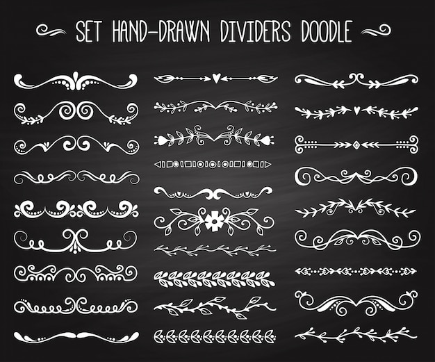 Dividers calligraphic line element set