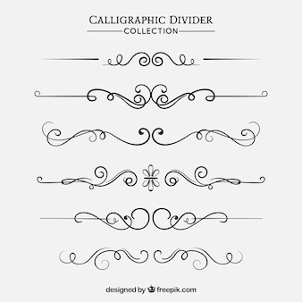 Dividers collection in calligraphic style