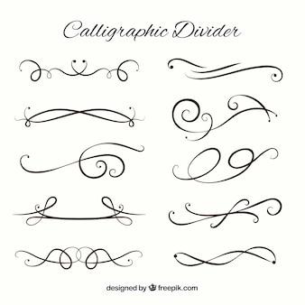 Collezione di divisori in stile calligrafico