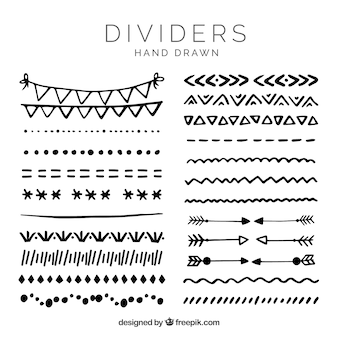 Dividers collection in hand drawn style